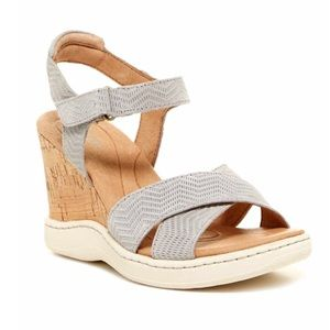 Born Coltyn Gray Suede Strappy Wedge Sandals